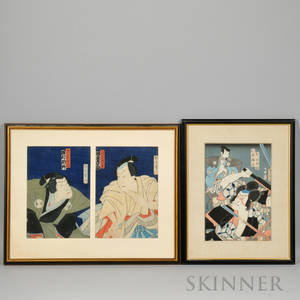 Three Japanese Color Woodblock Prints one Utagawa Kunisada 17861865 of unidentified Kabuki actors oban tatee and two Toyohara K