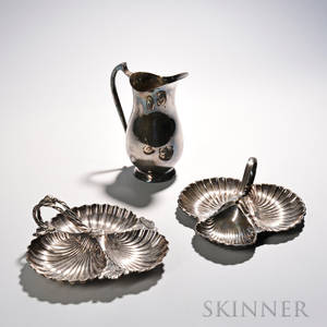 Three Pieces of Silverplate Tableware two shellform dishes each with three wells and a raised handle one Walker amp Hall the other