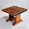 Brassmounted Wood Plank Side Table the threeboard top with brass strips and handholds over a base terminating in shoe feet ht 21 1