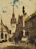 Luigi Kasimir Austrian 18811962 Der Marianplatz mit dem alten Rathaus