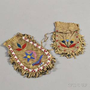 Two Sioux Beaded Hide Bags