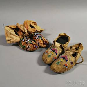 Two Pairs of Plains Partially Beaded Hide Moccasins