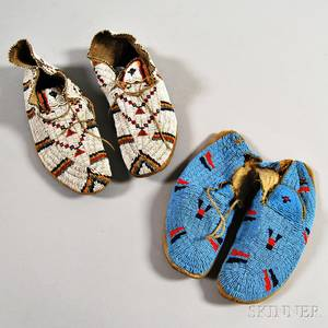 Two Pairs of Central Plains Beaded Hide Moccasins