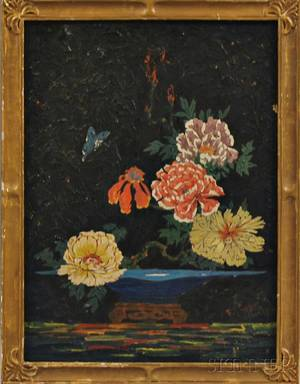American School 20th Century Still Life with Flowers and a Butterfly