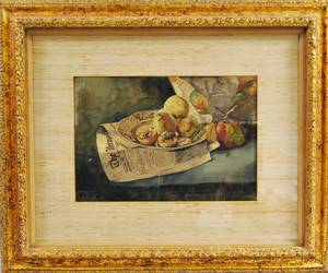 Attributed to Elvira Sproat Hutchings American 18421917 Still Life with Peaches and Newspaper