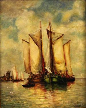 Attributed to Paul Clays Belgian 18191900 Ships Anchored in the Harbor