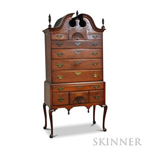 Queen Anne Carved Walnut Bonnettop High Chest