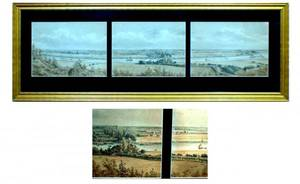 1198 Threepanel watercolor landscape signed indisting