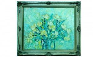1196 V Smith Floral Still Life oil on canvas sig