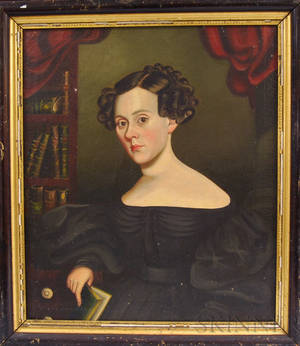 American School 19th Century Portrait of a Seated Woman with a Book