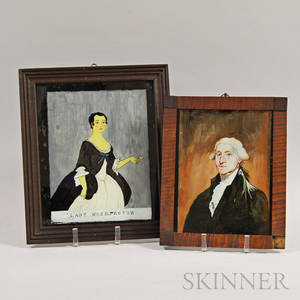 Two Framed Reversepainted Portraits of George and Martha Washington