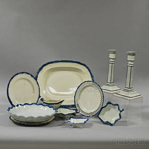 Eleven Blue and White Pearlware Table Items