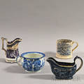 Four Staffordshire Transferdecorated Vessels