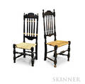 Two Blackpainted Bannisterback Side Chairs