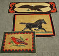 Three Hooked Rugs with Animals