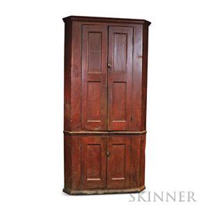 Redpainted Corner Cupboard