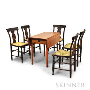 Set of Five Grainpainted Chairs and a Birch Dropleaf Table