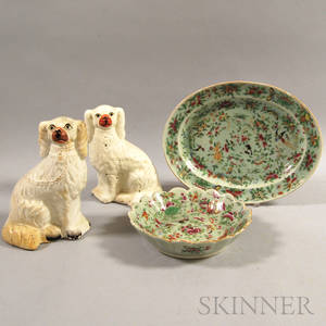 Two Famille Rose Porcelain Platters and a Pair of Staffordshire Spaniels