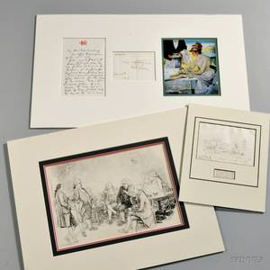 Artists and Illustrators Signed Correspondence and Sketches Three Pieces