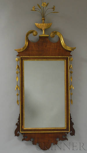 Georgian Parcelgilt Inlaid Mahogany Scrollframe Mirror