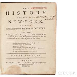 Smith William 17281793 The History of the Province of NewYork from the First Discovery to the Year MDCCXXXII Ex Dono Authoris