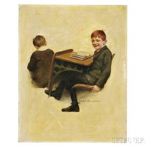 MacLellan Charles Archibald 18851961 Original Oil on Canvas Illustration of a Redheaded School Boy