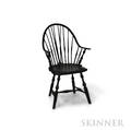 Blackpainted Continuousarm Braceback Windsor Chair