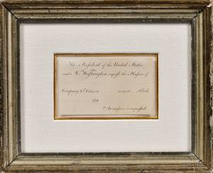Washington George 17321799 Engraved Presidential Invitation c 1790 Unsigned