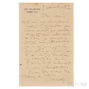 Renoir PierreAuguste 18411919 Autograph Letter Signed 9 November 1912
