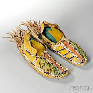 Pair of Southern Cheyenne Beaded Hide Mans Moccasins