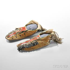 Pair of Apache Beaded Hide Moccasins