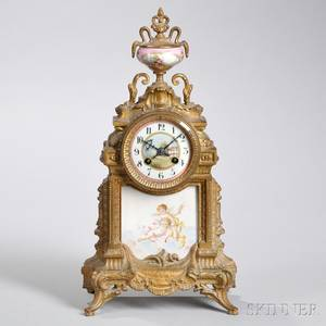 French Giltbrass and Porcelain Mantel Clock