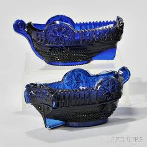 Two Blue Pressed Glass Boat Pattern Open Salts
