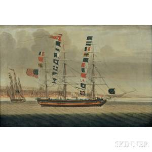American School Early 19th Century Portrait of the Packet Ship Emerald off Liverpool