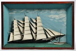 Carved and Painted Ship Diorama in a Shadow Box Frame