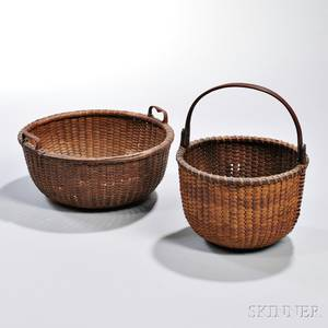 Two Round Nantucket Baskets