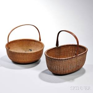 Two Swinghandled Nantucket Baskets