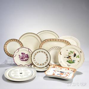 Twelve Decorated Creamware and Pearlware Items