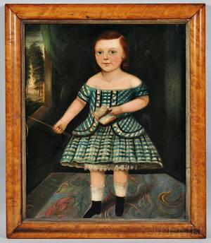 English School 19th Century Portrait of a Child in a Blue Checkered Dress with a Riding Crop and Book