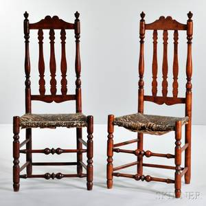 Pair of Redstained Maple Bannisterback Side Chairs