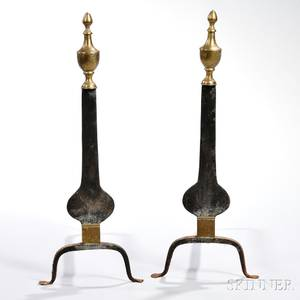 Pair of Engraved Iron and Brass Knife Blade Andirons