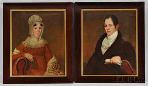American School 19th Century Portraits of John Nielson and His Wife Lydia Mendenhall Harrisburg Pennsylvania