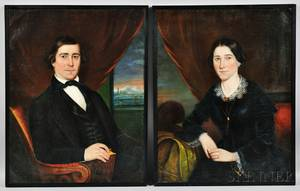 Attributed to Robert Street Pennsylvania 17961865 Pair of Portraits of a Husband and His Wife
