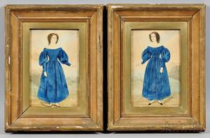 American School 19th Century Portraits of Two Sisters Wearing Blue