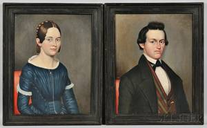 Philip Boss American 19th Century Two Portraits Mr William Penn Sheldon of New York State and Possibly His Sister