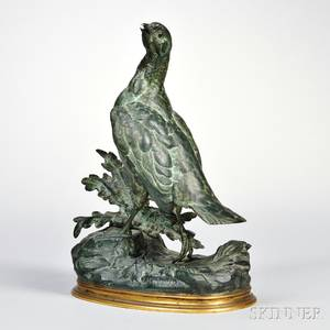 After Jules Moigniez French 18351894 Bronze Model of a Bird