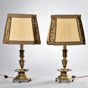 Pair of English Brass Candlestick Lamps