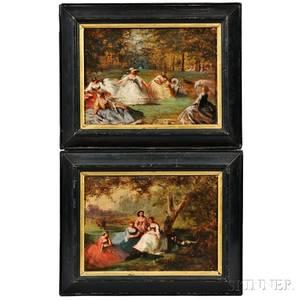 Continental School 19th Century Two Paintings of Elegant Ladies in Park Settings
