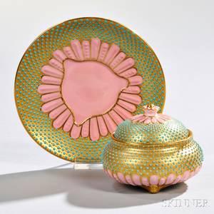 Jeweled Coalport Porcelain Covered Inkwell and Stand