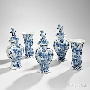 Dutch Delftware Blue and White Fivepiece Garniture